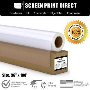 """Waterproof Inkjet Transparency Film Screen Printing 36"""" x 100' - 1 Roll - 5 MIL"""