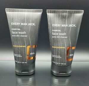 LOT OF 2 Every Man Jack Charcoal Face Wash Acne Skin Cleansers 5 oz. Exp 03/2022
