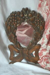 Antique French carved wooden mirror Louis XVI style, grapes, ribbon