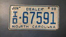License Plate Tag North Carolina NC Rustic Dealer 1999 Vintage USA