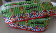 5 Yards Grosgrain Ribbon 7/8 22mm Zootopia Green Red Girl Ribbon