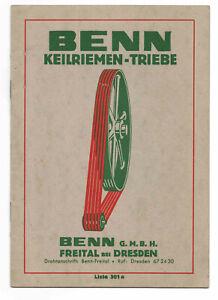 Katalog Benn Keilriemen - Triebe Freital Dresden um 1935 (D7