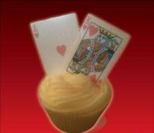 56 jugando a las cartas cubierta completa + comodines Poker Casino Cupcake Comestible Cake Toppers diversión