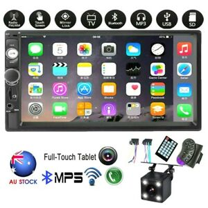 "7"" Car Radio Stereo Bluetooth Double 2Din USB FM TF/AUX MP5 MP3 Player + Camera"