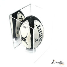 More details for rugby ball display case deluxe - white base (mirror back)