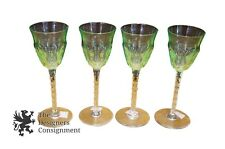 4 Vintage Green Vaseline Cut to Clear Sawtooth Cordials Glasses Crystal Toast