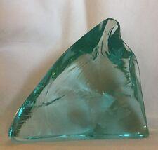 Signed Hovmantor Bornesson Swedish Art Glass Fish AQUA Ice Sculpture Paperweight