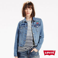 Women's Levis Classic Short Denim Jacket Jacket Embroidery Cherry  Size: S