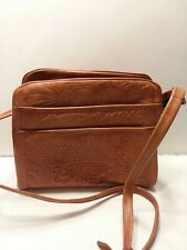 Genuine Leather Hand Tooled Mexican Leather Bag Purse Hand Crafted Mayan GUC