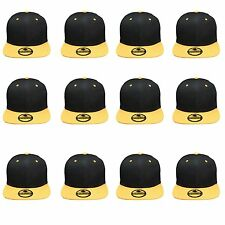 Plain Blank Flat Brim Adjustable Snapback Baseball Caps WHOLESALE LOT 12pcs