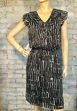 DKNY DONNA KARAN DRESS SMALL CASUAL CAREER SHIFT BLOUSON BLACK BLUE WHITE DKNYC