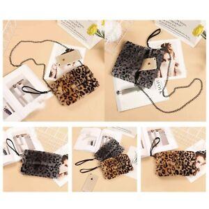 Ladies Leopard Designer Soft Fluffy Faux Fur shoulder Clutch Bag Purse Chain NEW