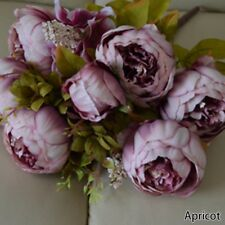 13-Head Artificial Silk Flowers Large European Peony Wedding Home Decoration