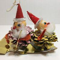 Vintage Pinecone Christmas Ornaments Santa Skis