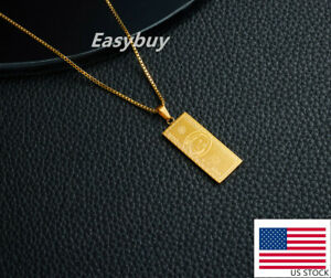 Woman 18K Gold Plated Stainless Steel Dollar Money Pendant Necklace Chain