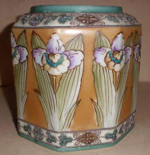 Beautiful antique Japan Nippon vase pot  hand painted Art Nouveau flowers design