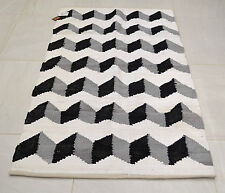 3d Pattern Cotton Rug Rag Black Grey White Handmade Woven Geometric 90x150cm 3x5