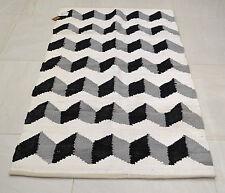 Cotton Rug Funky Zigzag Black Grey White HandMade Woven Geometric 90x150cm 3x5