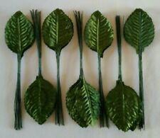 """Lot of 372 Poly Silk Leaf 5"""" Wire Stem Artificial Floral Rose Leaves Green Nwt"""