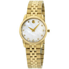 Movado Museum Classic White Mother Of Pearl Set with Diamonds Dial Ladies Watch