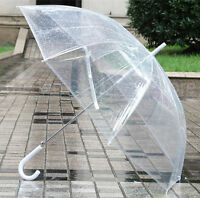 Wedding Ladies Clear Dome See Through Umbrella Handle Trnsparent Walking Brolly