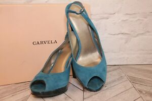 CARVELA Courts Pumps High Heel Kurt Teal Suede Patent Open Peep Toe RRP £70 EU39