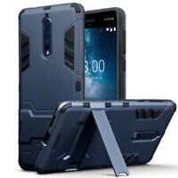 Shock Resistant Slim Armour Hard Case with Stand for Nokia 8 - Blue