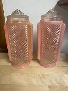 Vintage Lamp Shades Mid Century Art Deco Pink Glass Torpedo Skyscraper Headboard