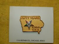 Vintage Masonic Order of the Eastern Star 50 Year Pin State of Iowa