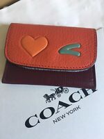NWT Coach 100% Authentic Glovetanned Leather HEART Cards Pouch WITH GIFT BOX