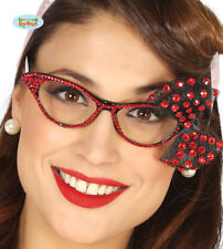 Adult Womens 1950s Glasses With Red Beads And Bow Effect