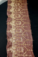 VINTAGE 1920'S-1930'S BROWN SILK EMBROIDERED TRIM 68 INCHES BY 13 INCHES
