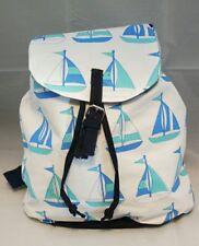 Back Pack Blue Tote Sailboat Bag White Large Purse Beach  Nautical Travel