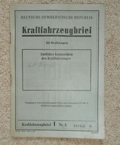 DDR KFZbrief   Kraftfahrzeugbrief  H6