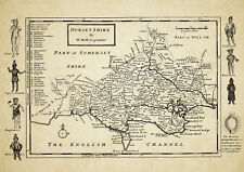 Dorset  County Map by Herman Moll 1724 - Reproduction