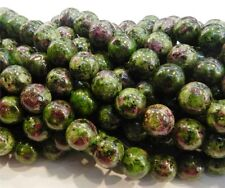 "10mm Red Green Ruby  Zoisite  Round Loose Beads 15"" Strand JL14"