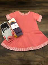Hanna Andersson baby girl pink twirl dress, sz 70, 18 months, with tights