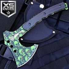"""9.5"""" ZOMBIE War Green Skull Design Hatchet Full Tang Axe W/ Nylon Sheath"""