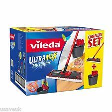 Vileda Ultramax Microfibre Flat Mop And Bucket Wringer Set 140910