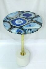 Handmade Semi precious Blue Agate stone coffee table top brass marble stand