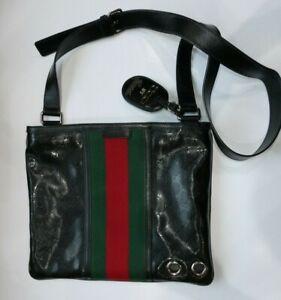 Gucci Black Logo Messenger Cross Body Signature Bag Large - Rare 500 Range