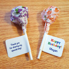 60 Personalized Birthday Party Lollipop Candy Wrappers Favor Labels Stickers