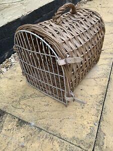 Old Brown Wicker Travel Vet Pet Carrier Portable Box Crate Cat Kitten Rabbit Dog