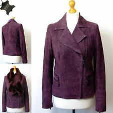 Twiggy for M&s Real Leather Snake Print Biker Jacket With Fur Size 14 Wine