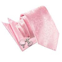 DQT Woven Swirl Patterned Baby Pink Classic Tie Hanky Cufflinks Wedding Set