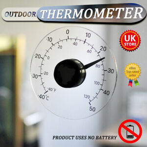Transparent Round Outdoor Window Thermometer Temperature Weather Station Tool !