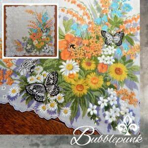 Vintage Carol Stanley SPAIN Colorful Floral Print Scalloped Handkerchief Unused