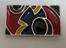 VINTAGE  GINNIE JOHANSEN '84 ENAMELED  RECTANGULAR  BROOCH  PIN  RED BLACK BLUE