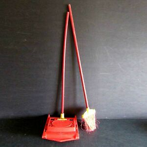 "Vintage Susy Goose Childs Toy Plastic Floor Sweeper & Broom 26.5"" tall FREE SH"