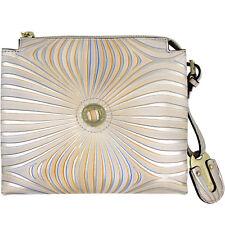 Baldinini Made in Italy luxury pearl & beige leather crossbody Clutch bag $400
